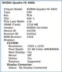 Nvidia graphics card info panel