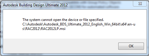 system cannot open the device or file specified