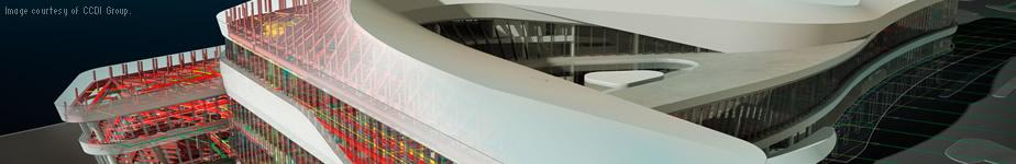 CCDI グループはオートデスクの建築設計ソフトウェアを使用して、見事な天津国際クルーズ ターミナルを設計しました。