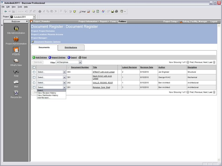 Autodesk Buzzsaw: Document Register