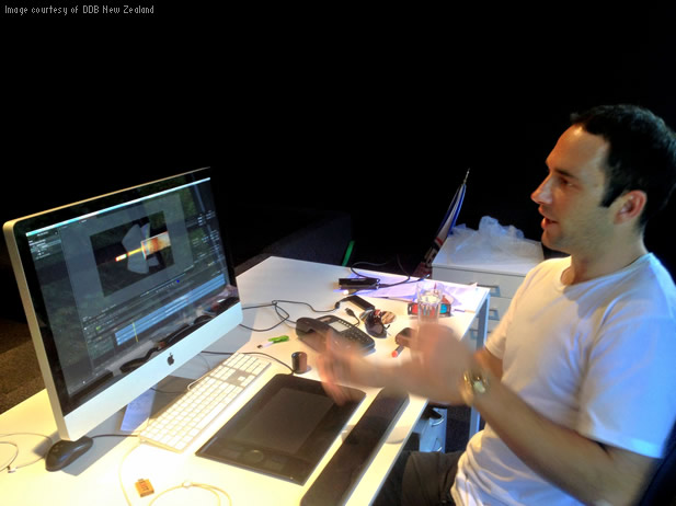 Steve Gulik of DDB New Zealand uses Smoke for video editing, color grading, and visual effects