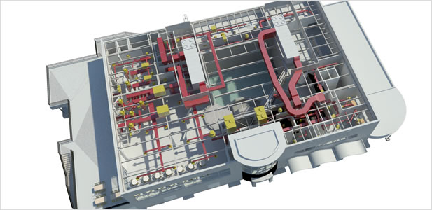 Rendered image of the HVAC system for Design West Engineering's SEA LIFE Aquarium project