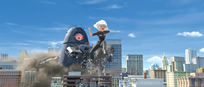 Characters in action from Monsters vs. Aliens.