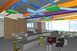 Photo of a software rendering of Steuart Tower, Autodesk's San Francisco office, created with Revit