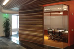 Photo featuring the reclaimed wood in the Steuart Tower meeting room of Autodesk's San Francisco office