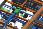 Photo of a Navisworks software model of the intricate and colorful ductwork in Autodesk's San Francisco office