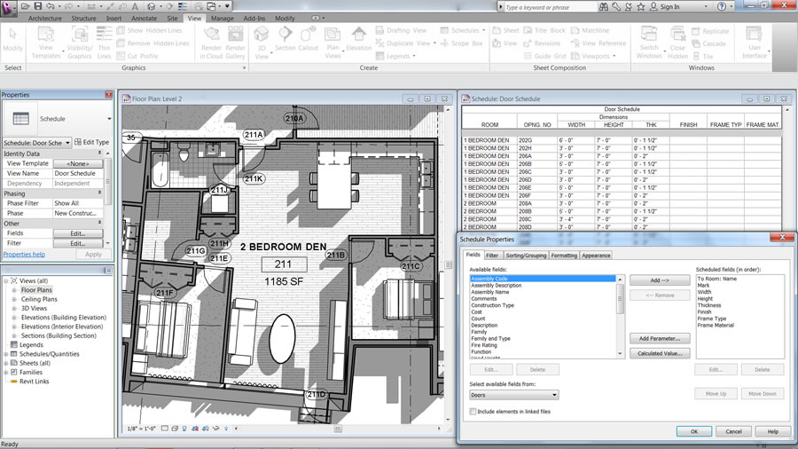 Autodesk Revit LT: Automatically Generate Schedules