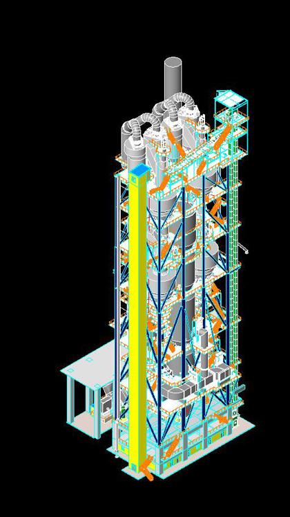 建筑三维立体图图片; 天津院使用revit完成水泥厂烧成系统的三维设计