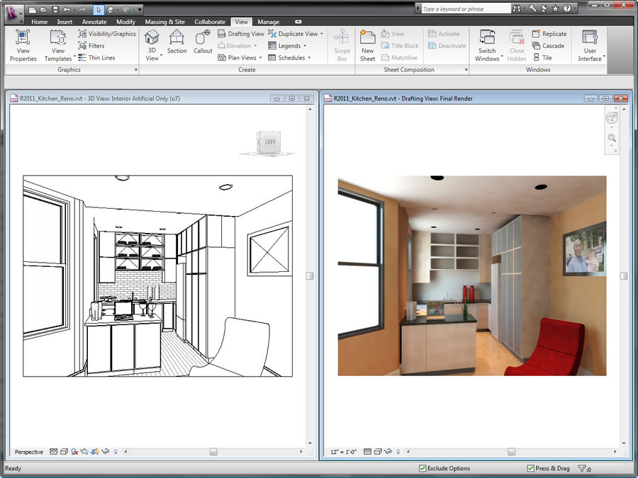 Capture design ideas in a photorealistic state with Revit family products.