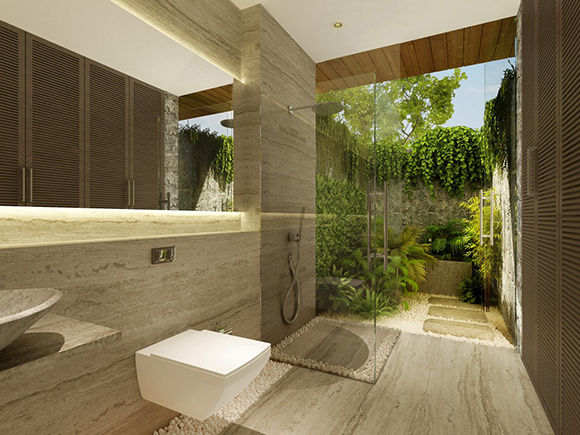 Rendering of the bathroom with an outdoor area. Image courtesy of AJA.