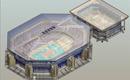 Трехмерная модель стадиона, выполненная в Autodesk Revit на основе чертежей AutoCAD