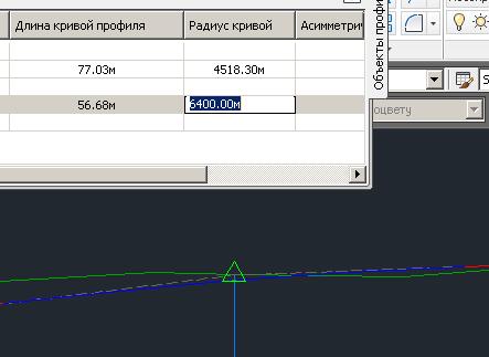Аналогичным способом впишите вертикальную кривую с радиусом 800 метров на последнем вертикальном углу.