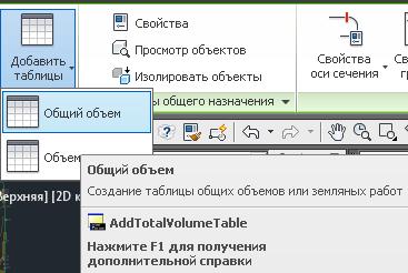 Затем на ленте интерфейса выберите команду Добавить таблицы и Общий объем.