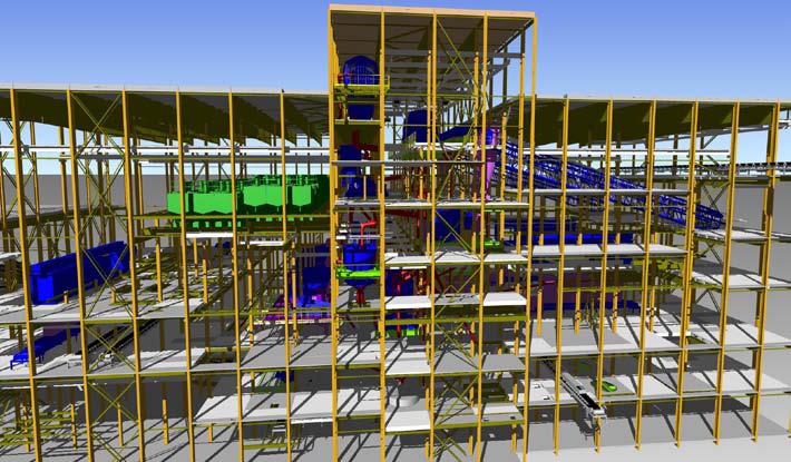 Модель корпуса обогатительной фабрики, разработанная с применением Autodesk Inventor и Revit