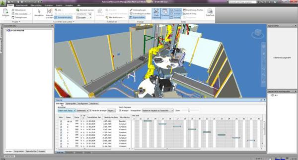 Weiterhin lassen sich Bauzeiten hinterlegen, Bauablaufsimulationen anfertigen und diese Daten mit MS Project oder Primavera verb