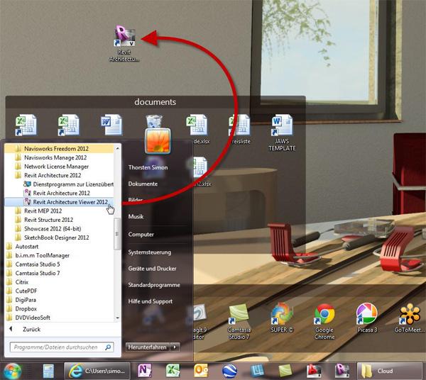 Hierzu wird bei der Installation auch ein Icon erstellt, welches Sie sich auf den Desktop ziehen können: