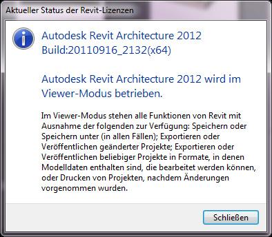Durch starten des Viewing Modus stehen Ihnen alle Funktionen von Revit zur Verfügung mit Ausnahme der Befehle die Daten erzeugen