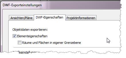 In den DWF-Eigenschaften legen Sie fest, ob Sie Bauteilattribute und Modelldaten mit exportieren: