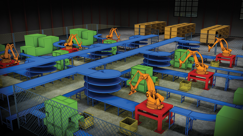 Navisworks Rendering of a 2D factory layout with an overlay of 3D factory content