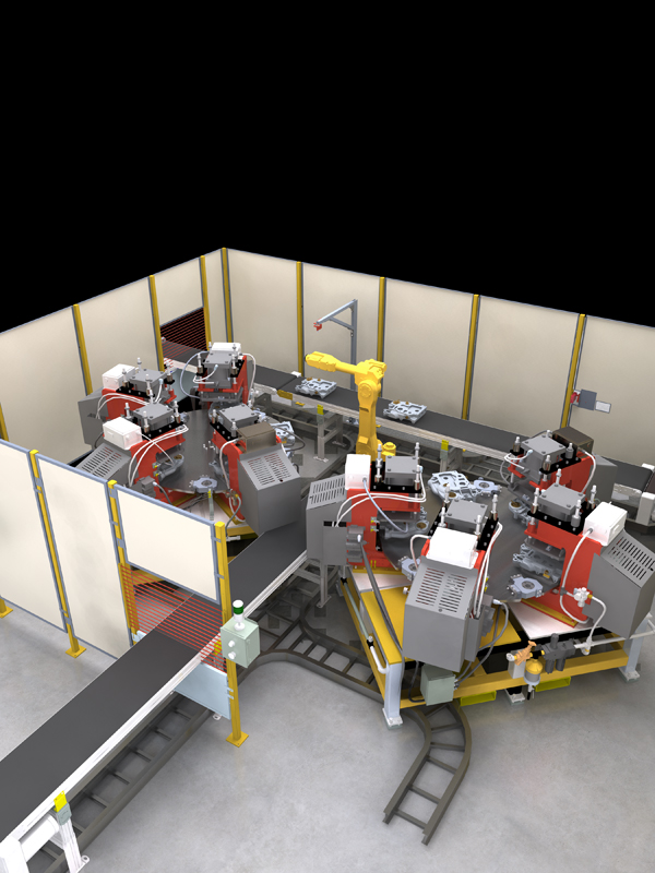 Rendering of a factory floor layout showing production line and robots
